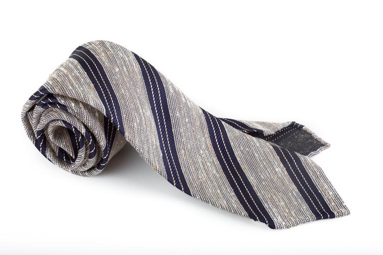 Regimental Shantung Tie - Untipped - White/Navy Blue