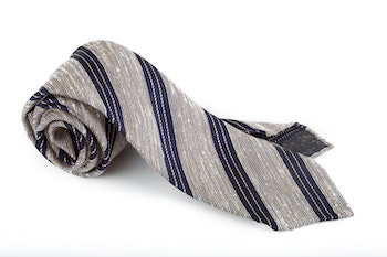 Regimental Shantung Tie - Untipped - White/Navy Blue