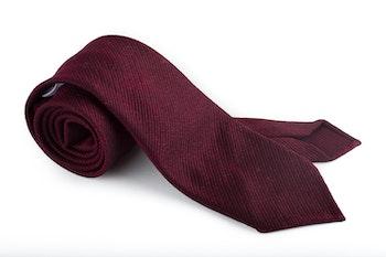 Solid Silk/Wool Tie  - Untipped - Bourgogne