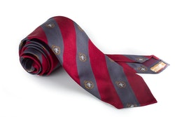 Silk Regimental Untipped - Burgundy/Grey