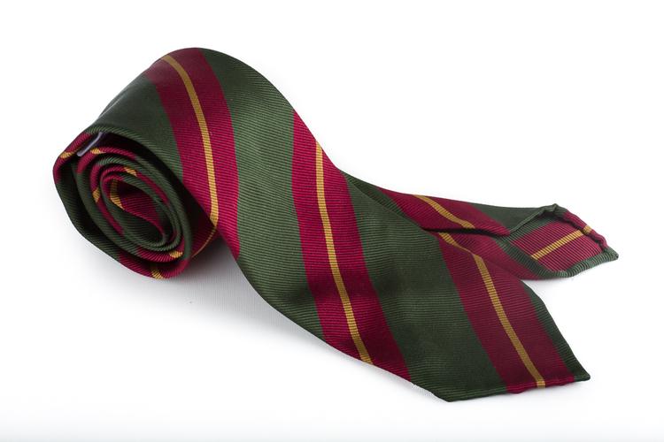 Silk Regimental Untipped - Green/Burgundy/Mustard