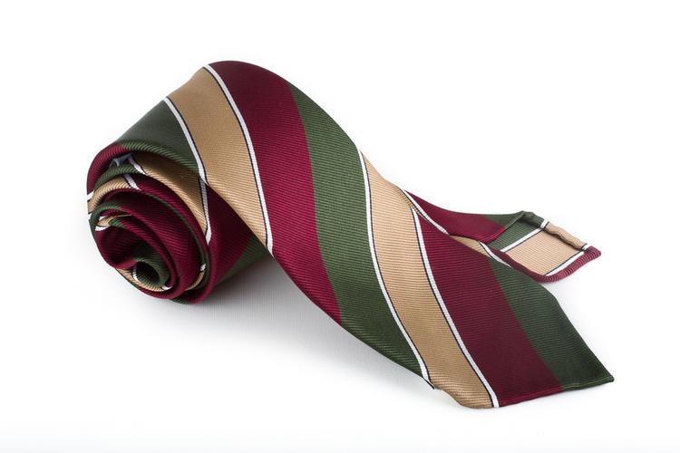 Silk Regimental Untipped - Burgundy/Green/Beige/White