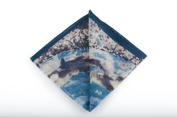 Cashmere/Cotton Batik - Navy Blue/Light Blue/Grey/White