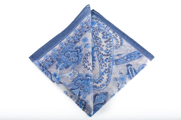Cashmere/Cotton Paisley - Light Blue/Navy Blue/Off White