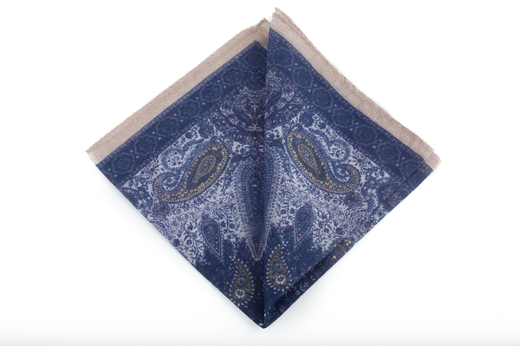 Cashmere/Cotton Paisley - Navy Blue/Beige/White