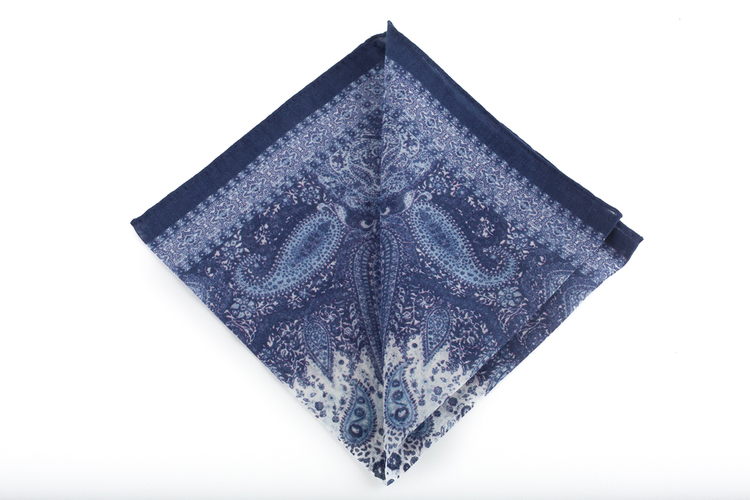 Cashmere/Cotton Paisley - Navy Blue/Light Blue/White