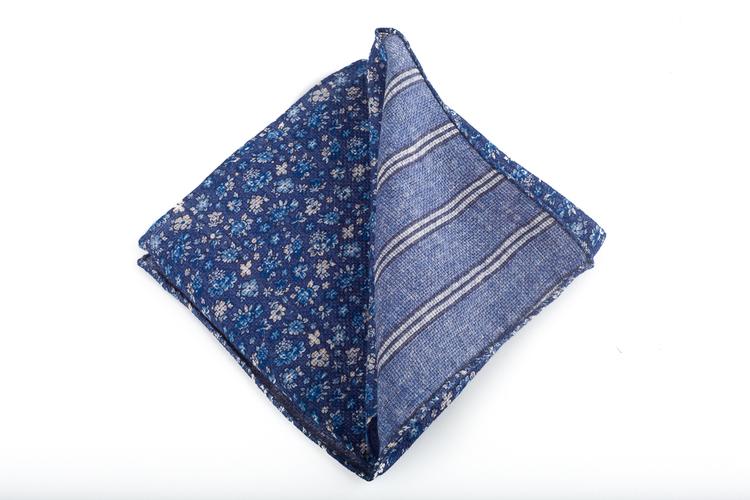 Wool Floral/Stripe - Navy Blue/Light Blue/White