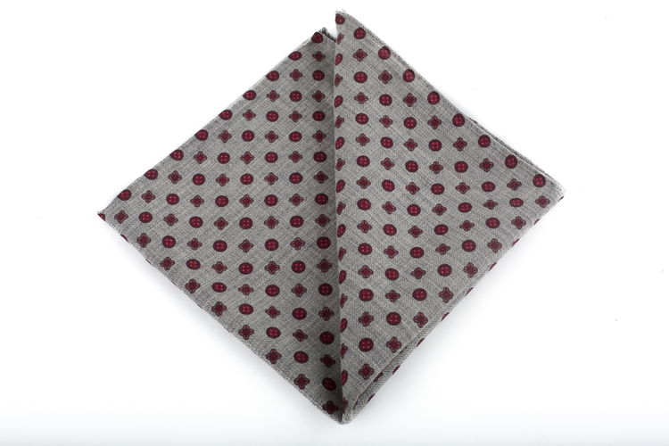 Wool Floral - Grey/Burgundy