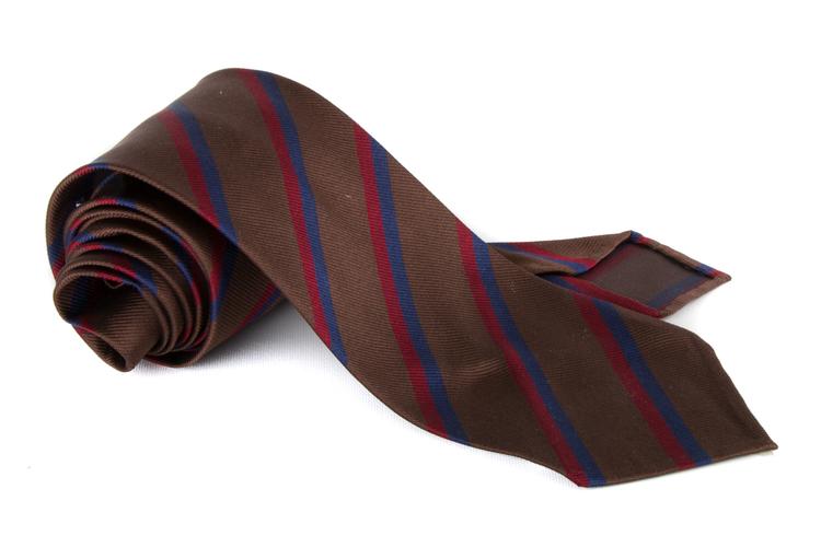 Silk Regimental Untipped - Brown/Navy Blue/Burgundy