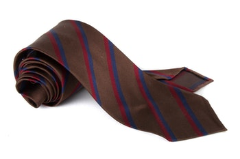 Silk Regimental Untipped - Brown/Navy Blue/Burgundy