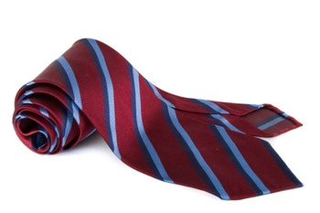 Silk Regimental Untipped - Burgundy/Navy Blue/Light Blue