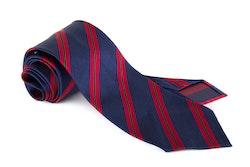 Silk Regimental Untipped - Navy Blue/Red/Green