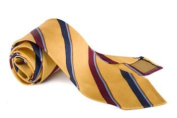 Silk Regimental Untipped - Yellow/Navy Blue/Burgundy/Light Blue