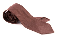 Solid Silk Grenadine Fina Tie - Untipped - Brown
