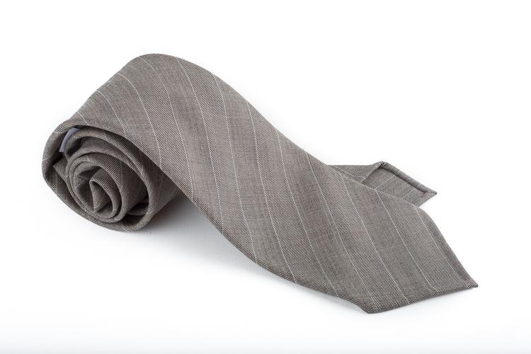 Regimental Light Wool Untipped Tie - Beige/White