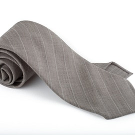 Regimental Light Wool Untipped Tie - Beige/White