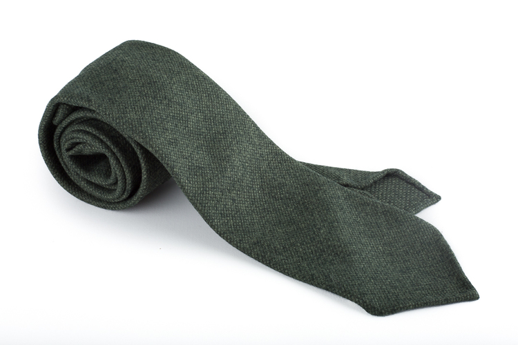 Solid Wool Untipped Tie - Dark Green