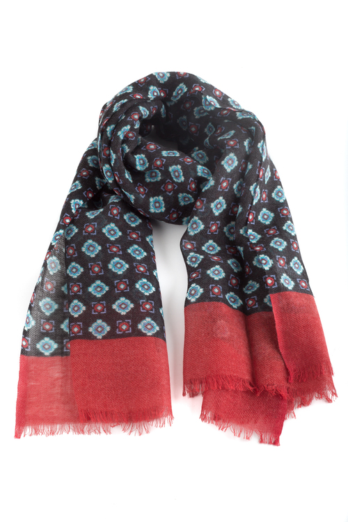 Wool Floral - Navy Blue/Light Blue/Cerise