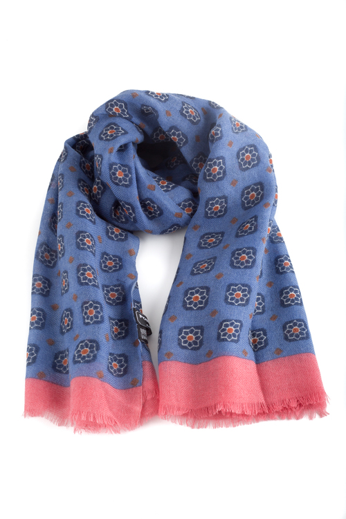 Wool Floral - Light Blue/Navy Blue/Cerise