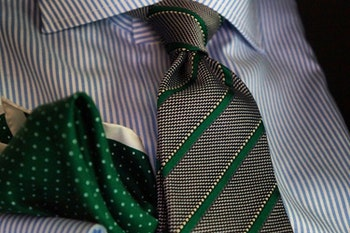 Regimental Silk Grenadine Tie - Untipped - Grey/Green