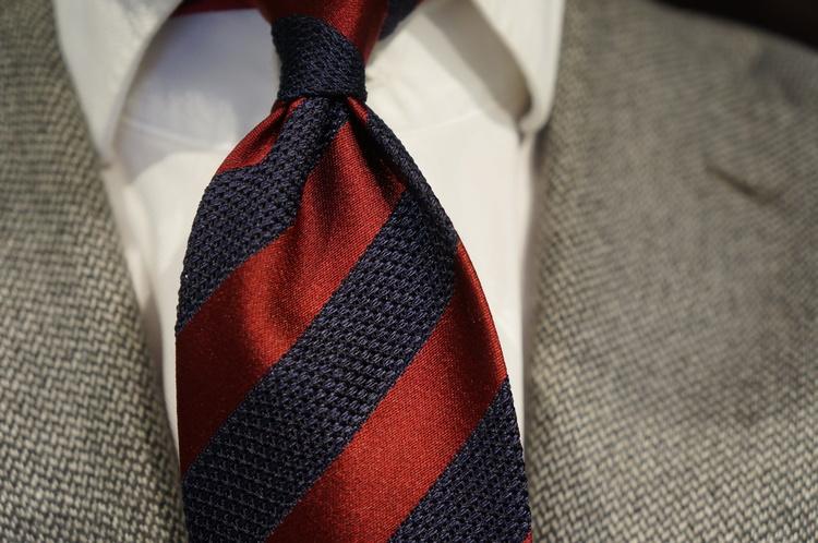Regimental Silk Grenadine Tie - Untipped - Burgundy/Navy Blue
