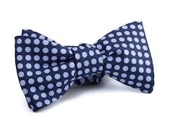Self tie Silk Polka - Navy Blue/Light Blue