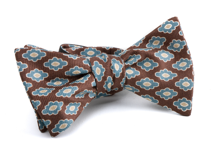 Self tie Silk Medallion - Brown/Light Blue/Beige