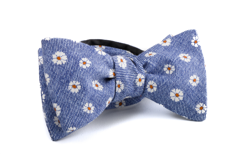 Self tie Silk Floral - Navy Blue/Orange/White