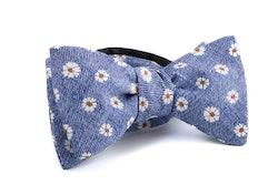 Self tie Silk Floral - Navy Blue/Orange/White