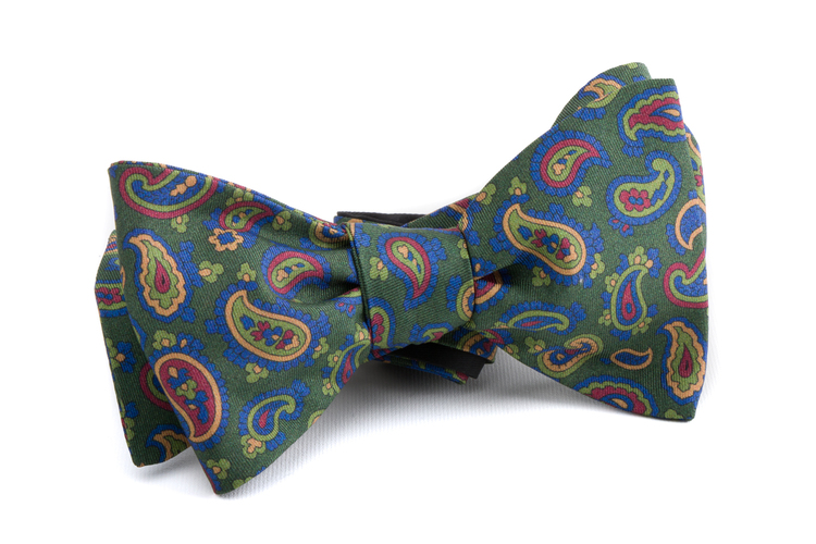 Self tie Silk Paisley - Dark Green/Navy Blue/Orange