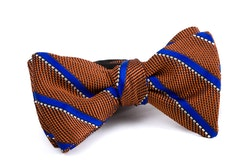 Regimental Grenadine Bow Tie - Orange/Royal Blue