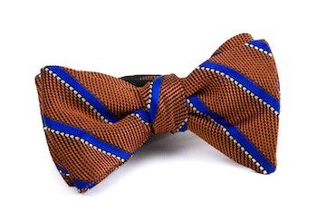 Regimental Grenadine Bow Tie - Orange/Royal Blue