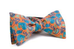 Self tie Silk Paisley - Orange/Turquoise