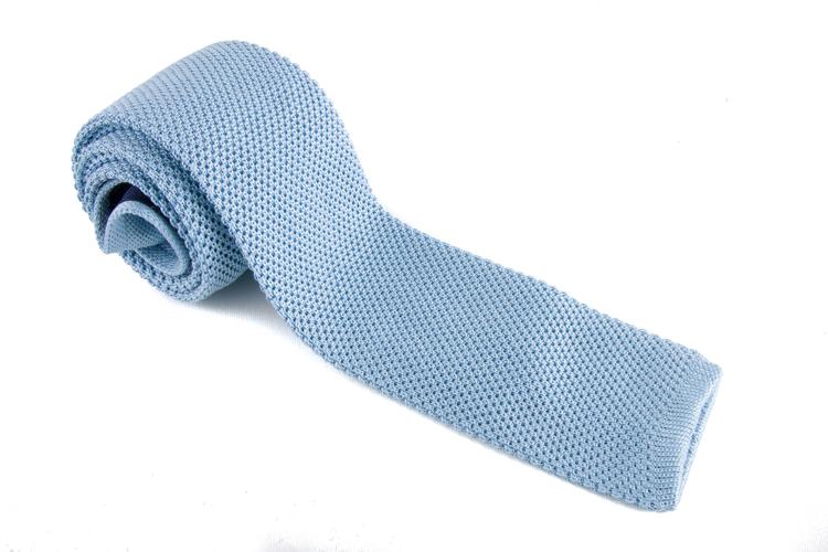 Knitted Silk Tie - Light Blue
