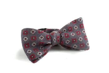 Self tie Wool Square - Grey/Red/White