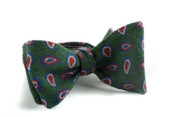 Self tie Wool Paisley - Green/Red/Navy Blue/White