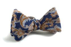 Self tie Wool Square - Navy Blue/Beige/Light Blue