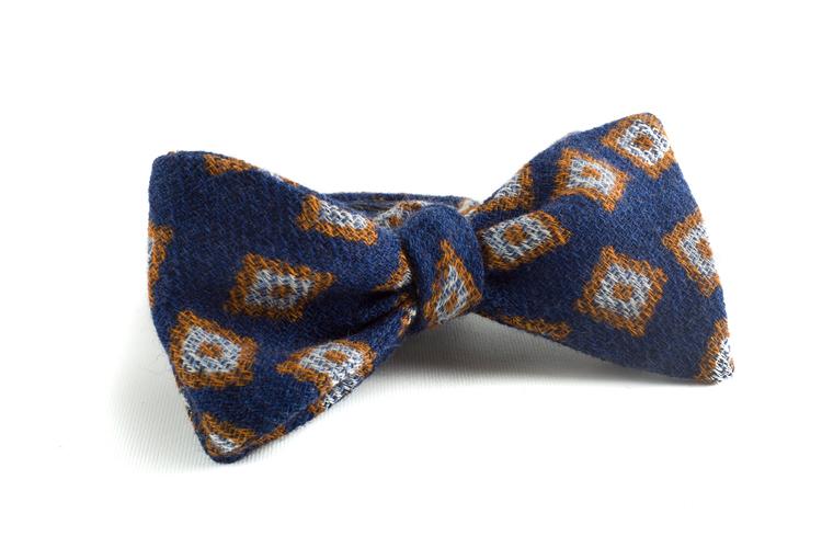 Self tie Wool Diamond - Navy Blue/Beige/Light Blue