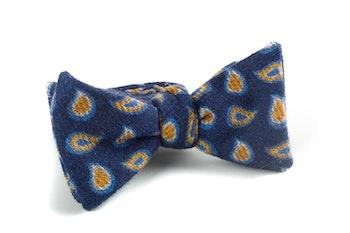 Self tie Wool Paisley - Navy Blue/Yellow/Light Blue