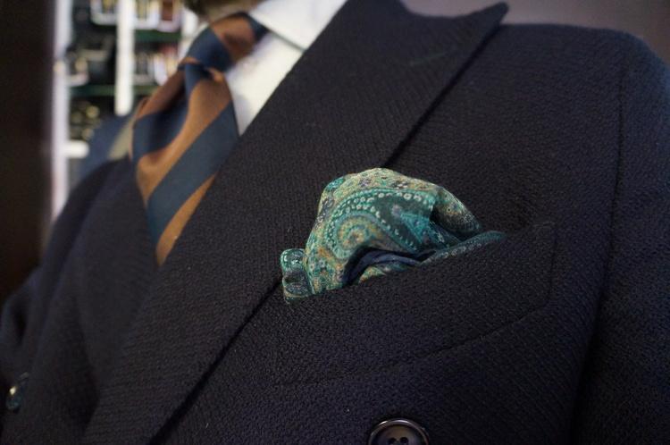 Cashmere/Cotton Paisley - Navy Blue/Green/Beige