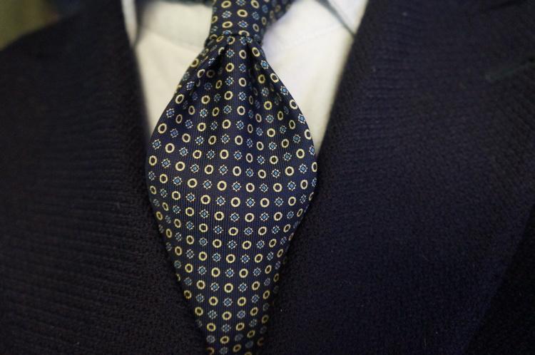 Floral/Circle Printed Silk Tie - Untipped - Navy Blue