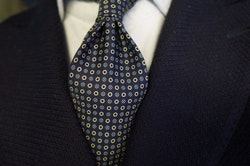 Floral/Circle Printed Silk Tie - Untipped - Navy Blue