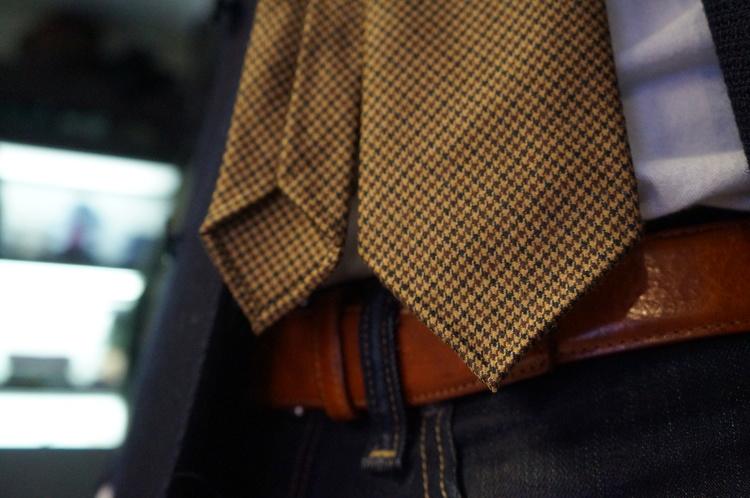 Houndstooth Wool Untipped Tie - Beige/Brown