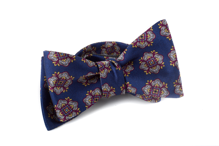 Self tie Silk - Navy Blue/Grey/Purple