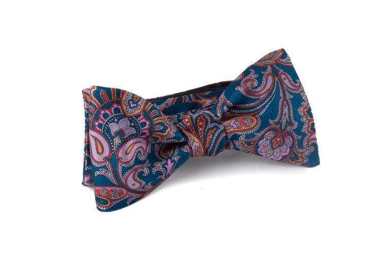 Self tie Silk Paisley - Petrol/Grey/Orange/Purple