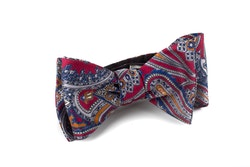 Self tie Silk Paisley - Burgundy/Grey/Navy Blue/Orange