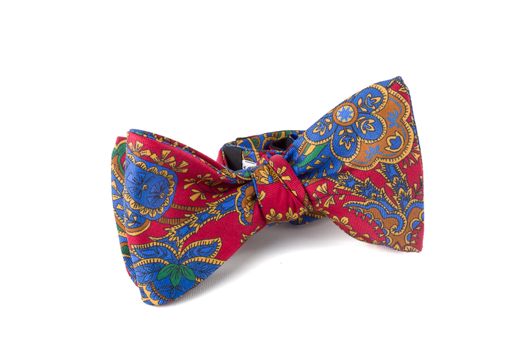 Self tie Silk Paisley - Red/Navy Blue/Orange
