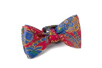 Self tie Silk Paisley - Red/Navy Blue/Orange