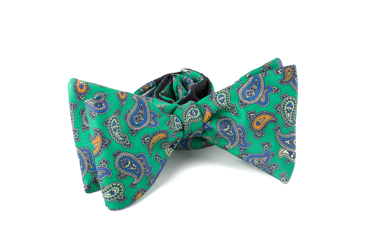Self tie Silk Paisley - Green/Blue/Orange
