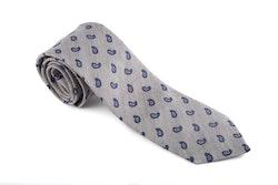 Wool Paisley - Grey/Navy Blue